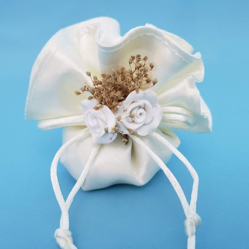 Classic Satin Pouch Bag w Porcelain Flower