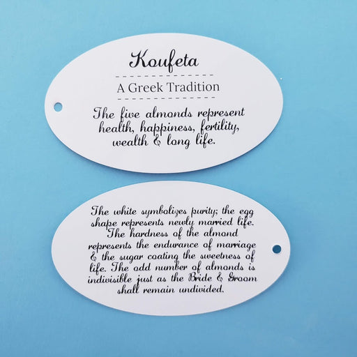 Explanation Oval Card  - WEDDING- 5 Almonds