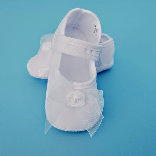 Christening Girls Shoe with Organza Bow