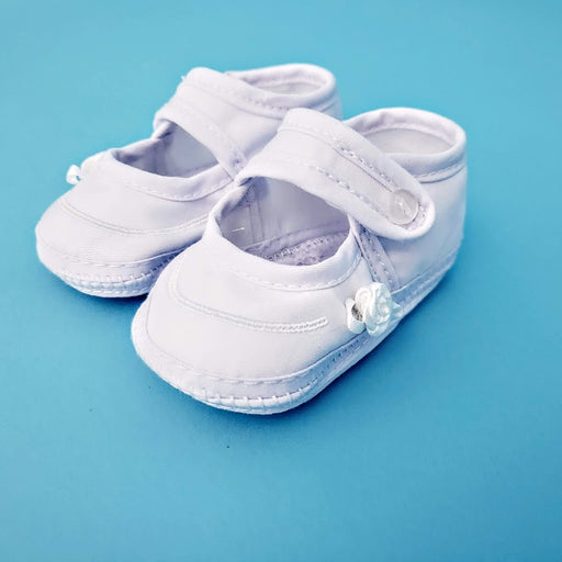 Baptism Girls Shoe - Cotton Batiste Accented with tiny braid