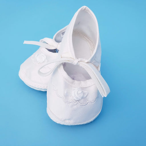 Christening Girls Baby Shoe - Girls Silk Dupioni Shoe