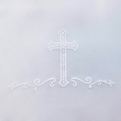 Girls - Matte Satin Screened Cross with Lace Bib