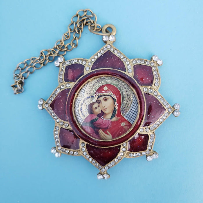 Icon Pendant of Virgen Mary & Child - Star