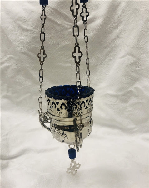 Orthodox Hanging Lantern for Home - Medium Blue plated Orange Glass