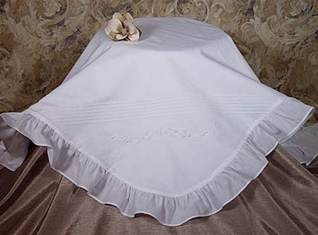Cotton Embroidered Blanket with Ruffles