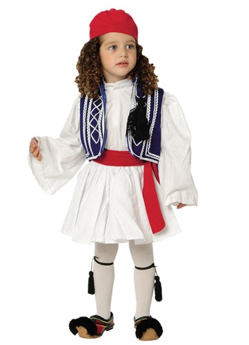 Tsolias Boy Blue & White Vest Costume (Sizes: 2 & 3)