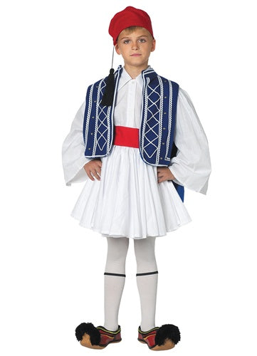 Tsolias Boy Blue & White Vest Costume (Size 12 or Size 14)