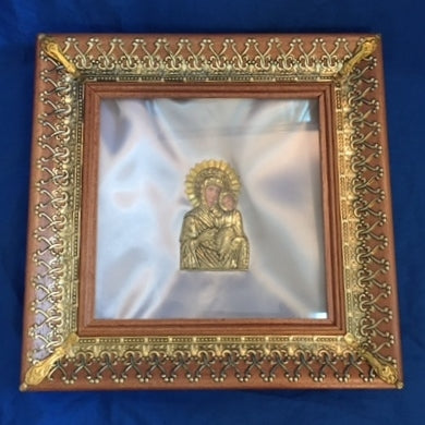 Square Wooden Crown Case - Brass / Gold Trim