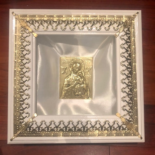 Square Wooden Crown Case - White with Brass Gold Trim