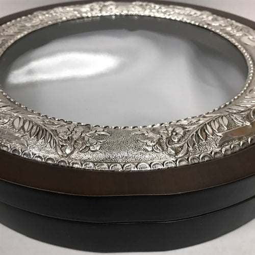 Sterling Silver Circle Case - Flowered Etching