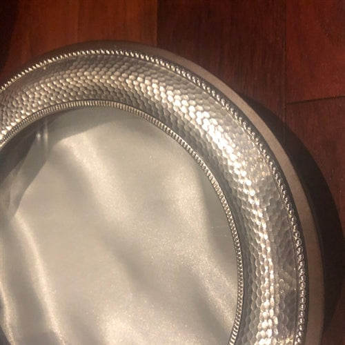 Sterling Silver Circle Case with Hammered Framing