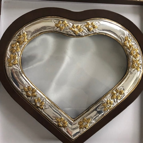 Sterling Silver Heart with Gold Plated Flowers