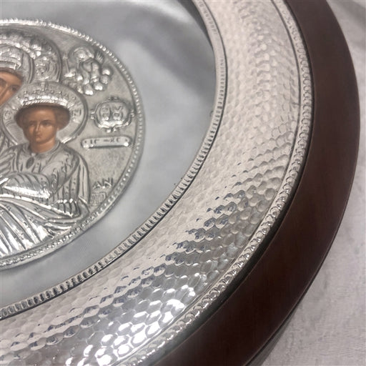 Sterling Silver Circle Case -  Hammered Frame Case with Icon