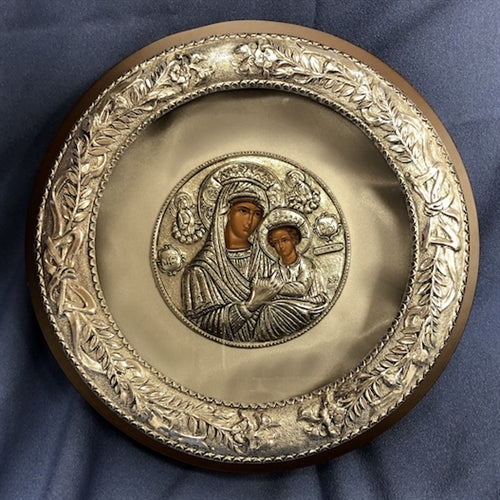 Sterling Silver Circle Case -  Flowered Frame Case with Icon