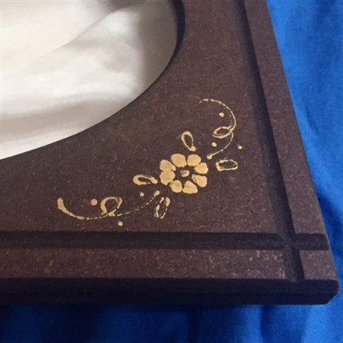 Wooden Crown Case with Golden Etching - Oval Window