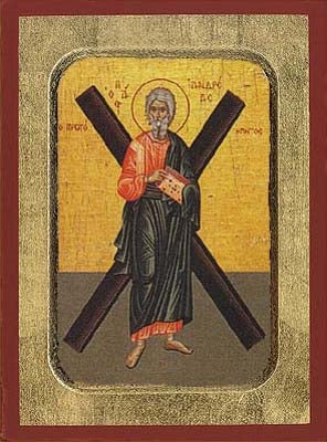 Andrew the Apostle with Cross Greek Orthodox Icon