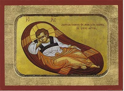 The Reclining Infant Greek Orthodox Icon