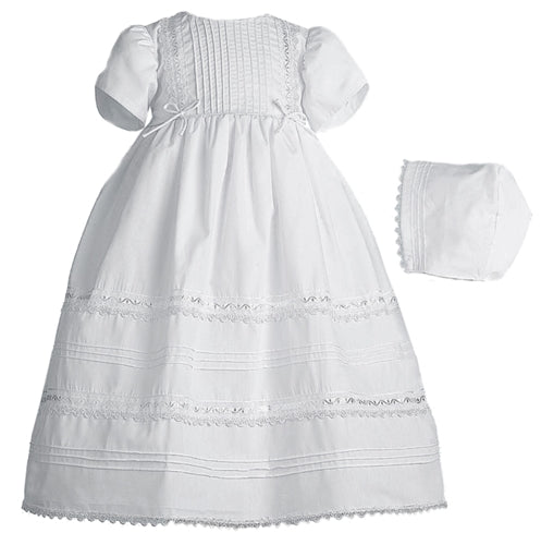 Cotton Tuckered Dress with Venise Trim (0-3 months, 8-12 lbs)