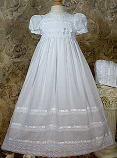 "30"" Cotton Batiste Gown with Cluny Trim  (up to 24 months)"