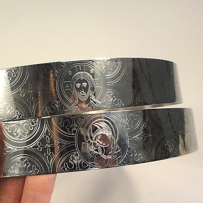 Crown Pair: Christ and Theotokos Stainless Steel