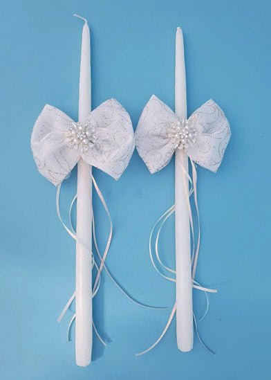 Gift Bow Tapered Candle - Set of 2