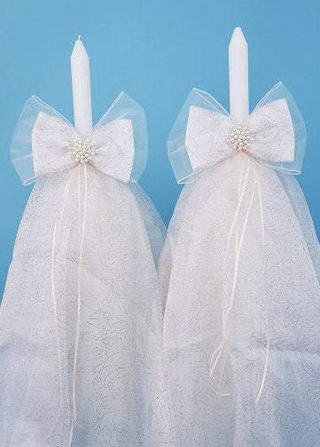 Gift Bow Thick Stem Candles - Set of 2