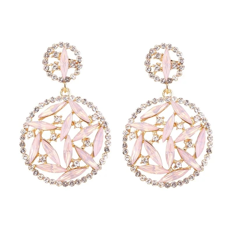 ANNA ROSE | Crystal Stone Round Drop Earring