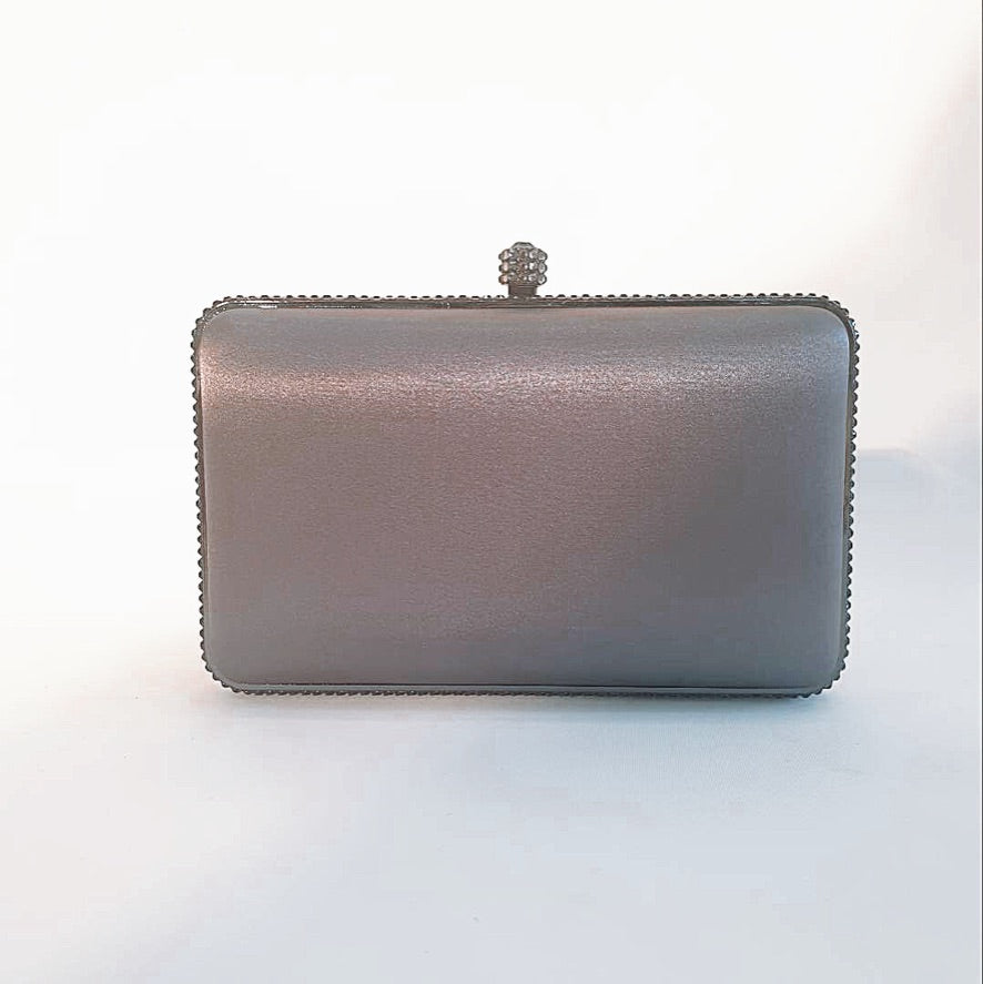 ADDISON | Gunmetal satin clutch