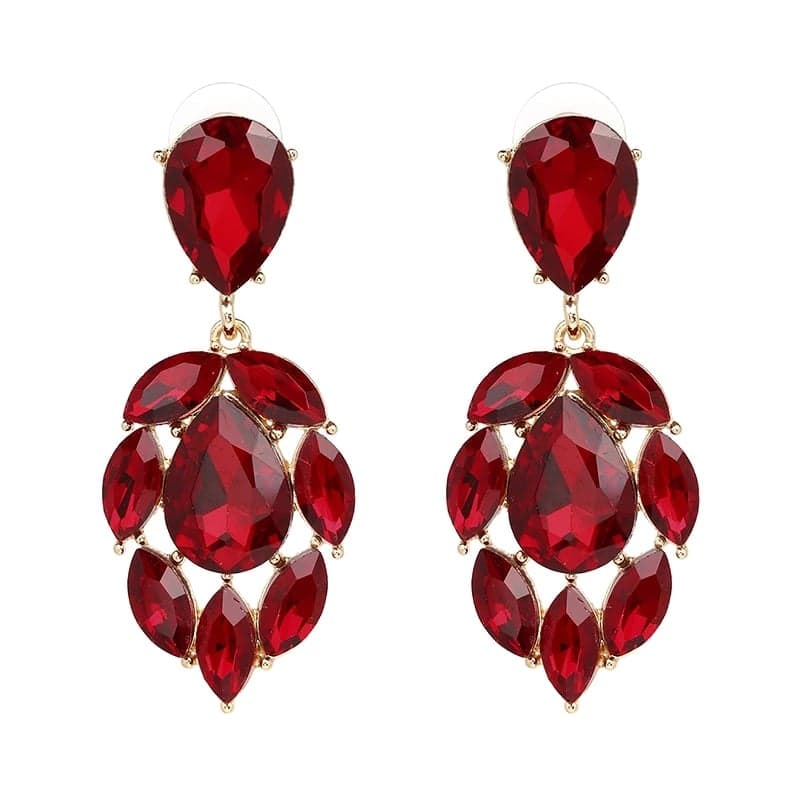 OLIVERA RED | Crystal Drop Earrings