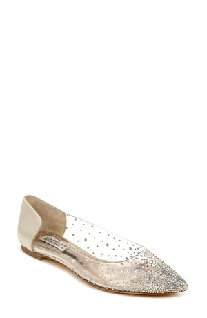 BADGLEY MISCHKA |GABI CRYSTAL EMBELLISHED POINTED FLAT