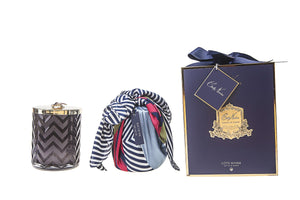 COTE NOIRE |HERRINGBONE CANDLE WITH SCARF EAU DE VIE- NAVY & DRAGONFLY LID