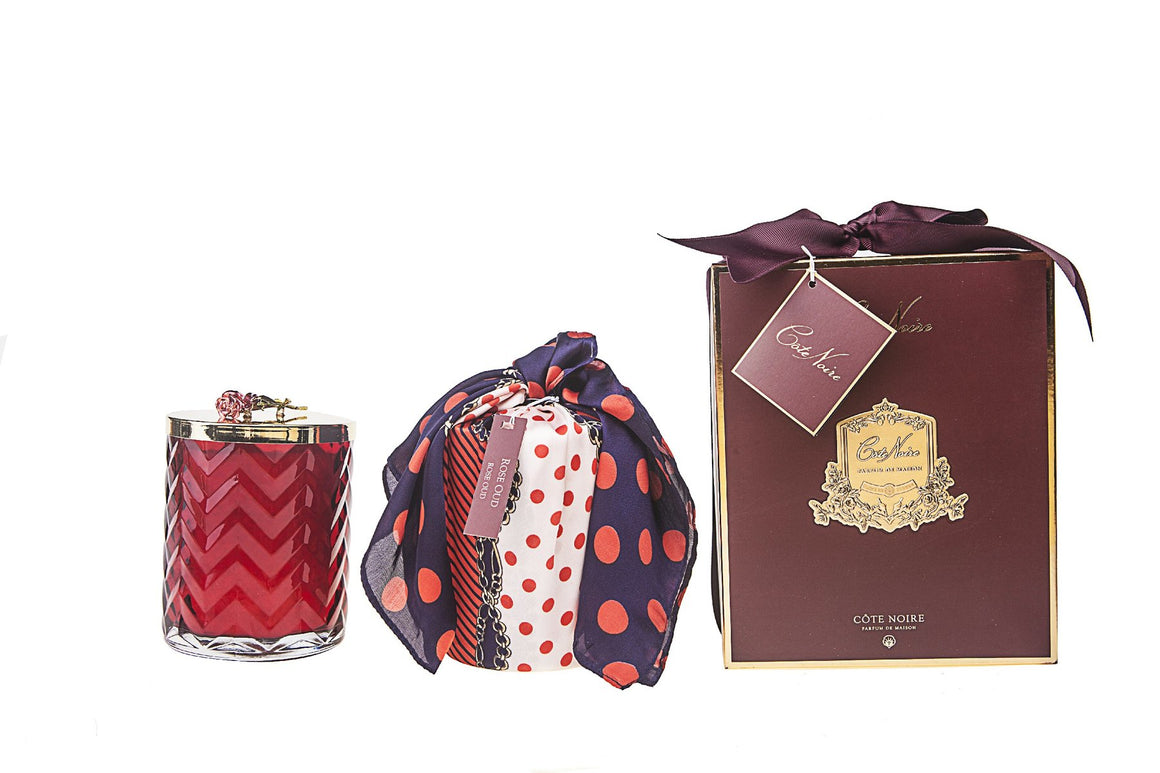 COTE NOIRE |HERRINGBONE CANDLE WITH SCARF ROSE OUD - RED & RED ROSE LID