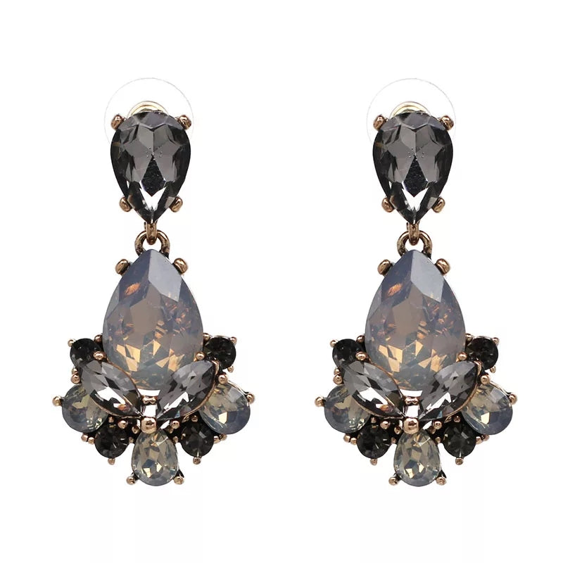 CLARA SMOKE | Crystal Drop Earring