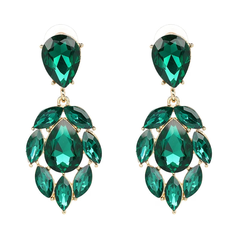 OLIVERA EMERALD | Crystal Drop Earring