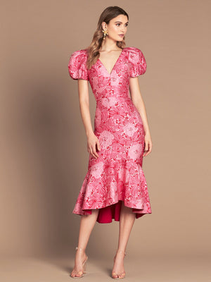 LOVE HONOR | Argento Jacquard Dress - Pink