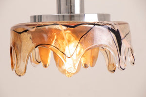 1970s Space Age Mazzega Murano Glass Pendant Light