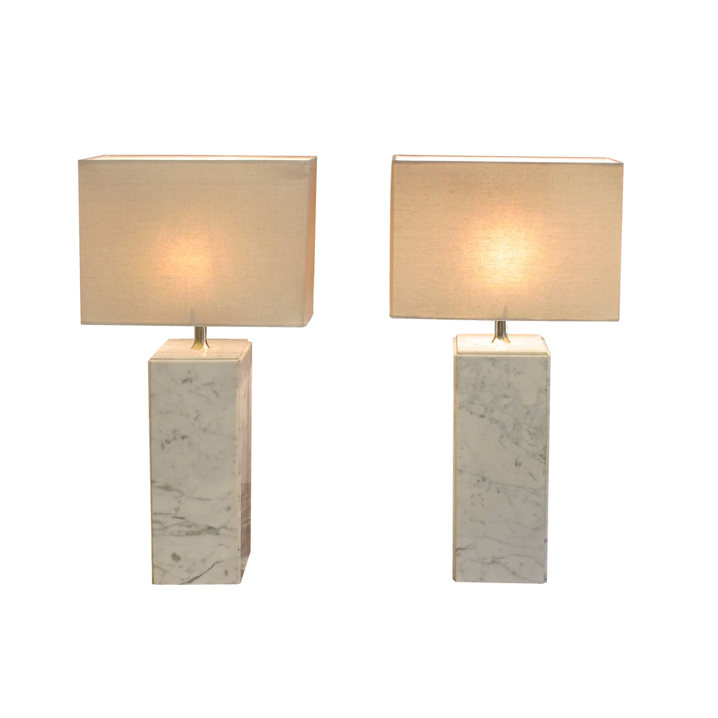 A pair of Italian white marble table lamps