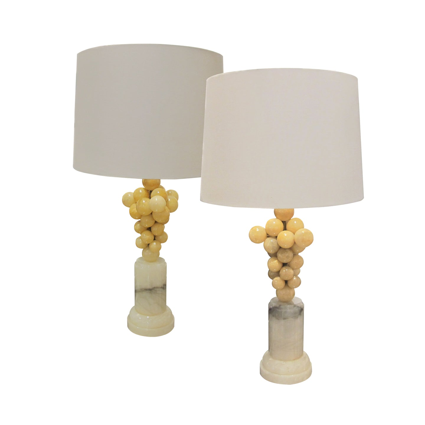 A pair of alabaster table lamps, 1970's