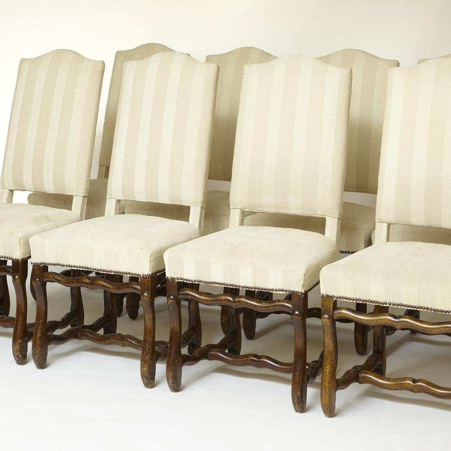 Set of 8 french ' Os de Mouton ' high back oak dinning chairs