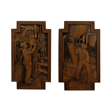 Load image into Gallery viewer, A 1940's oak cabinet with carvings by E. Hallanvaara, Finnish