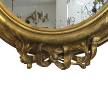 Load image into Gallery viewer, Pair of carved gild French oval mirrors, Napoleon III