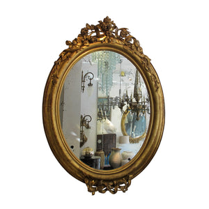 Pair of carved gild French oval mirrors, Napoleon III