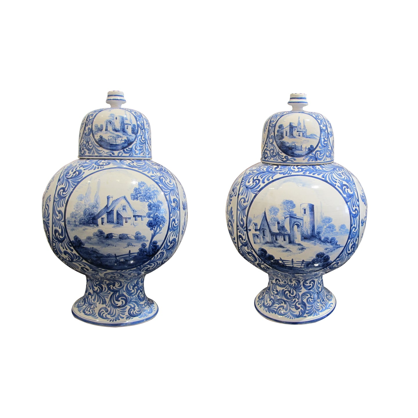Pair of late 19th Century Delft vases, Dutch