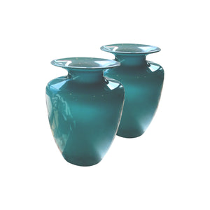 A pair of baby blue opaline glass vases, French mid-century