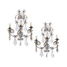 Load image into Gallery viewer, A pair of 1920's wrought iron and glass pampilles wall light, French