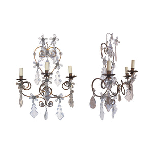 A pair of 1920's wrought iron and glass pampilles wall light, French