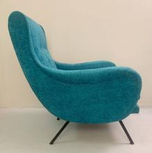 Load image into Gallery viewer, 1950's Pair of Italian Turquoise Armchairs. New velvet upholstery