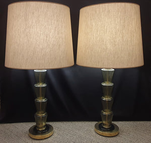 Pair of Murano Glass Lamps Art Deco Style