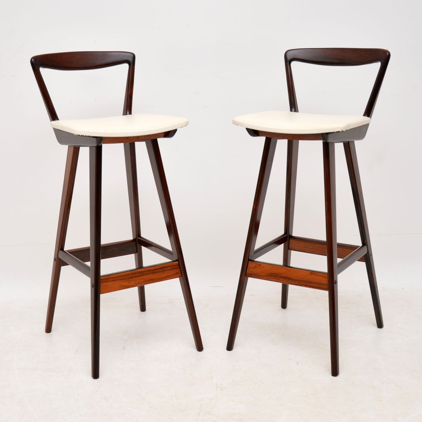 Pair of Danish Rosewood Bar Stools By Henry Rosengren Hansen