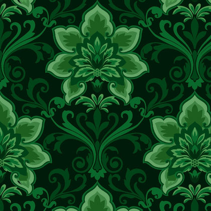 Hometown Holiday Green Damask  2474-66
